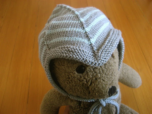 teddy in a baby hat