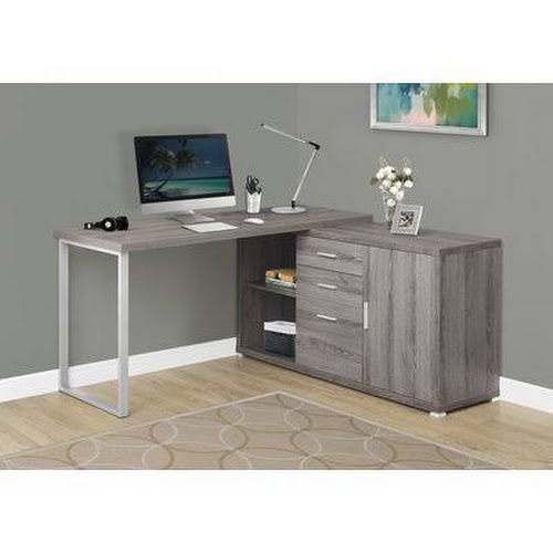 Latitude Run Dariell L Shape Corner Desk Dark Taupe