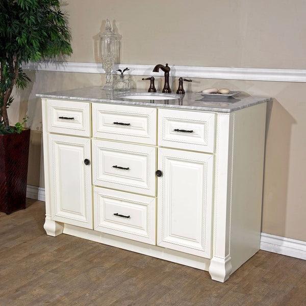 Bellaterra Home 50 Antique White Single Sink Vanity Set 605022