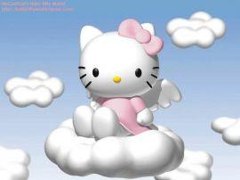 Papel de parede 'Hello Kitty nas nuvens'