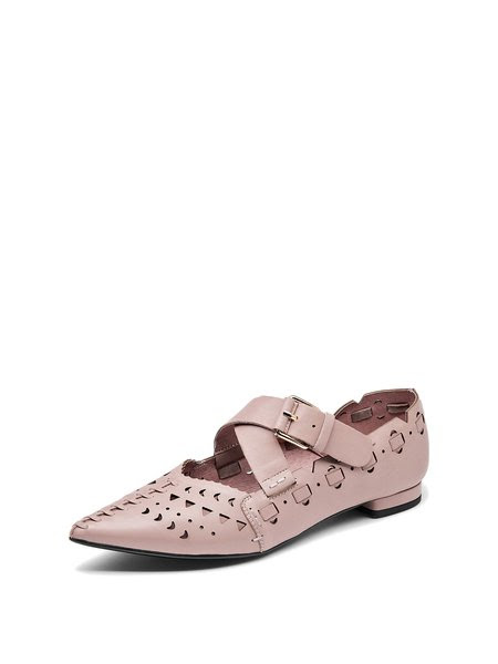 Pink Casual Pierced Leather Pointed Toe Flats
