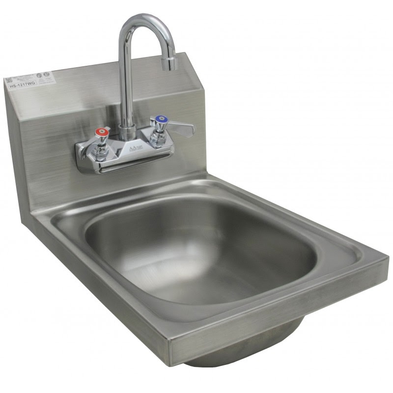Stainless Steel Wall Mount Hand Sink W No Lead Faucet And Strainer
