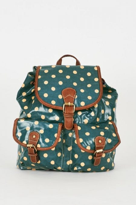 Ladies Handbags UK - Satchels, Messenger and Cross-Body  Bags. School and College Bag - Rucksacks and Backpacks, Travel and Holiday Bags |   Teal Polka Dot Backpack Design Bag –