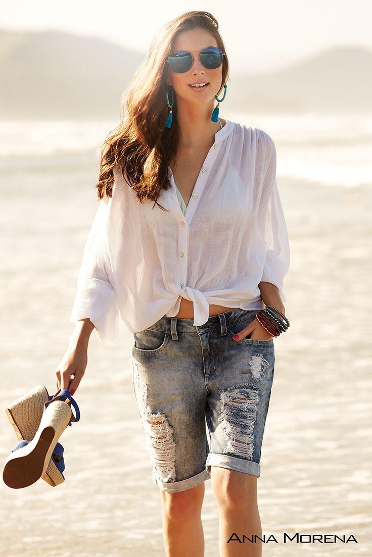 Anna Morena   Spring Summer Collection 2015   Coleção Primavera Verão 2015   Camisa de algodão; Bermuda jeans; Tendência; Moda feminina; Trend.