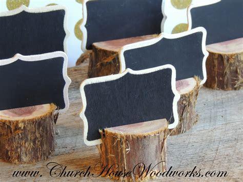 12 rustic cedar place card holders, tree card holders