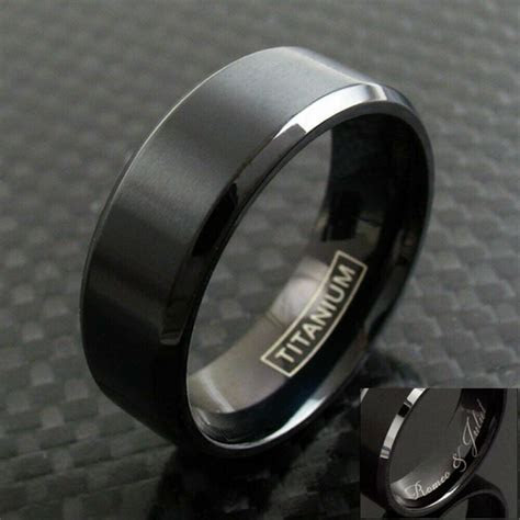 6/8mm Black Titanium Men's Brushed Finish Stripe Wedding