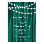 String of Lights on Jade Satin Couple's Shower 5x7 Paper Invitation Card