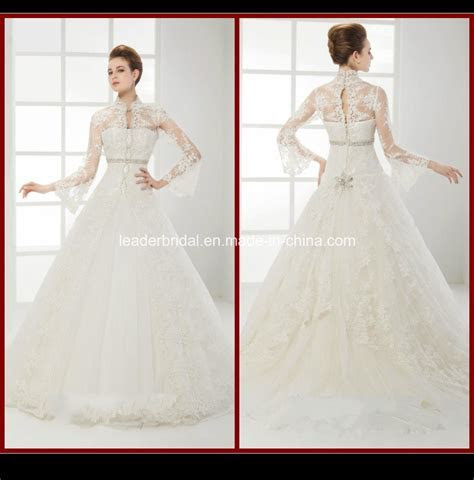 China High Neck Long Sleeve Bridal Gown Lace Appliques