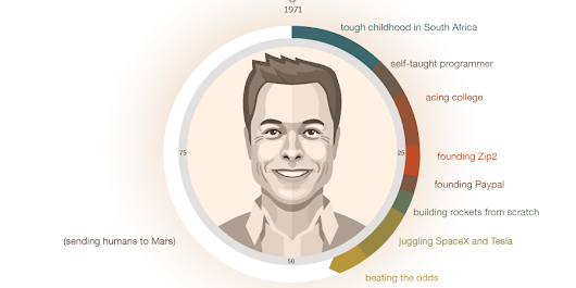One chart reveals the fascinating life of Elon Musk
