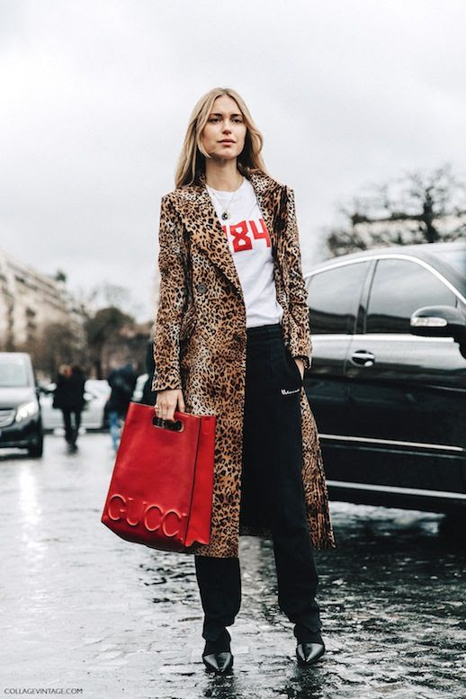 Le Fashion Blog Fall Street Style Pernille Teisbaek Blonde Hair Pfw Long Leopard Print Coat White Tee Shirt Red Gucci Bag Black Pants Pointed Toe Leather Shoes Via Vintage Collage