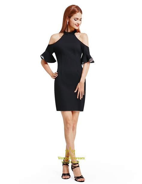 Simple Elegant Black Knee Length Bodycon Cocktail Dress