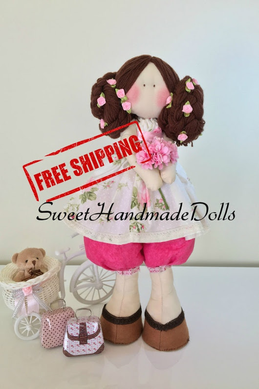 Leia Doll Brown hair doll with a white by SweetHandmadeDolls