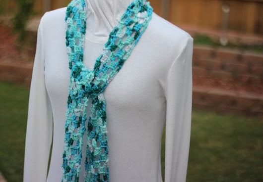 Turquoise Scarf Crocheted Lace Scarves Blue Cotton Scarf
