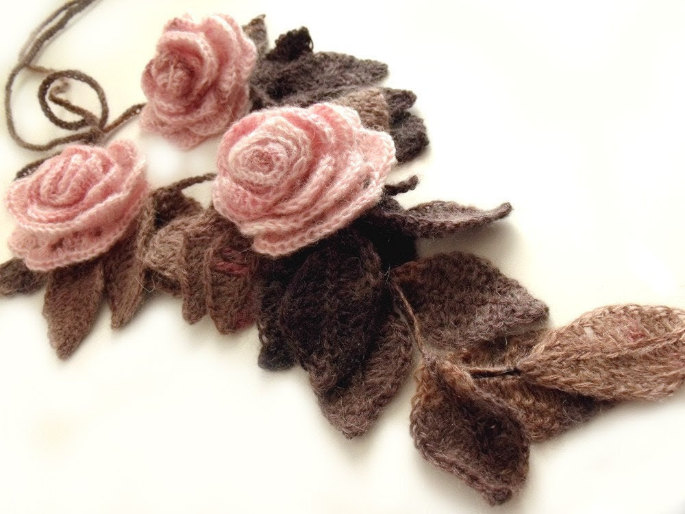 """Freeform crochet lariat scarf with flowers and leaves dust pink brown """"Dust Roses"""""""