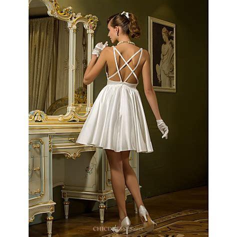 A line Plus Sizes Wedding Dress   Ivory Short/Mini V neck