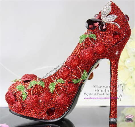 Handmade Red Shoes with Crystal Cherry from Reliable red