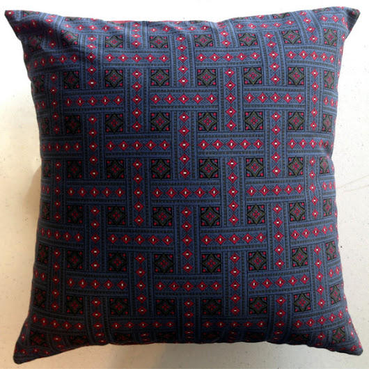 "Vintage-Made Blue Envelope Pillow Cover with Pillow Form, 14"" x 14"", Vintage Cotton Fabric"