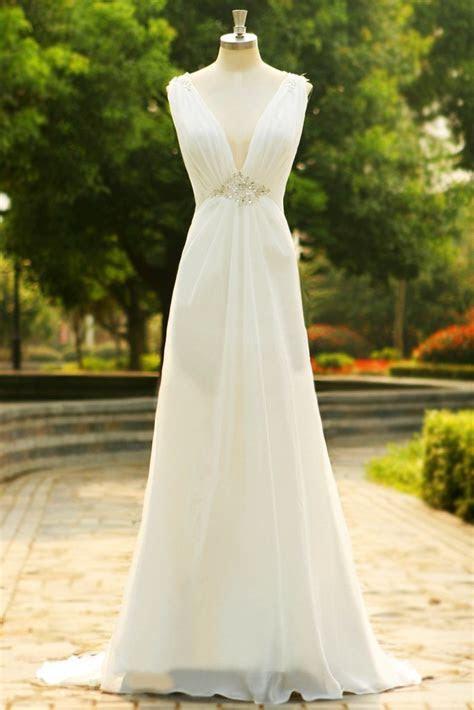 Charming V Neck Long Chiffon Beach Wedding Dress SD07
