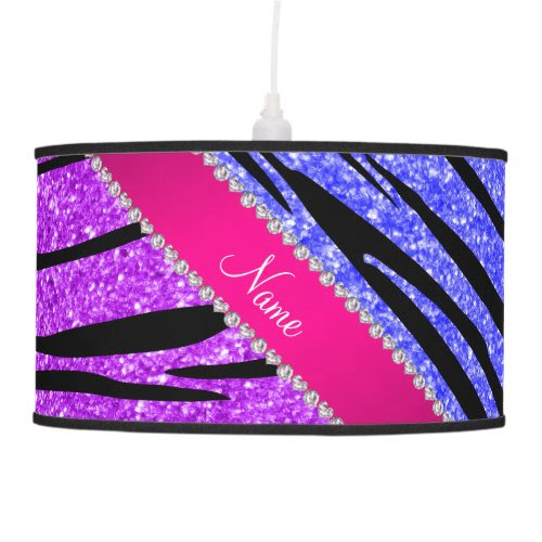 Name neon purple neon blue glitter zebra stripes hanging lamps
