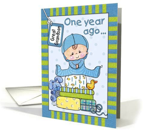 Great Grandson's First Birthday Baby Boy and Gifts card