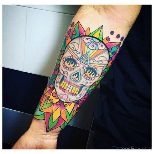 Colored Skull Tattoo On Wrist Tattoo Designs Tattoo Pictures