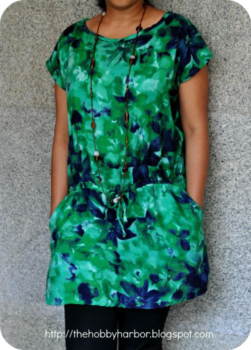 A drawstring dress from a kimono tee-TheHobbyHarbor blog,A Sewing and DIY destination