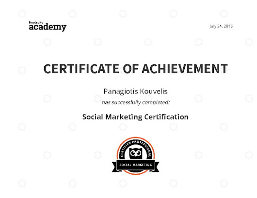 Certificate for Social Marketing Certification