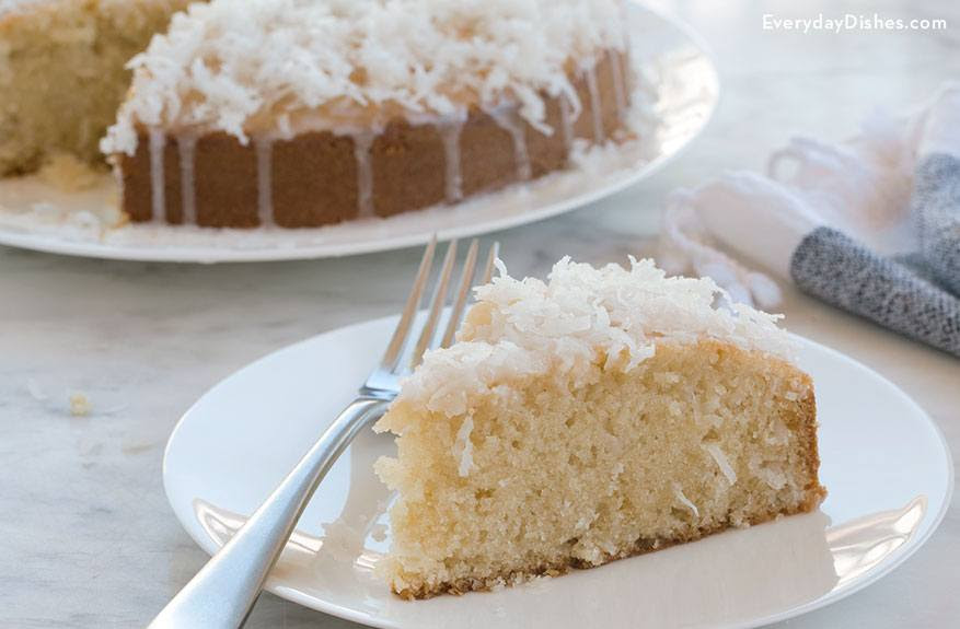 Coconut Oil Cake Recipe with Coconut Topping