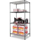 Alera Wire Shelving Starter Kit Four-Shelf 36W x 24d x 72H Black Anthracite
