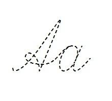 пунктирный прописной рукописный шрифт