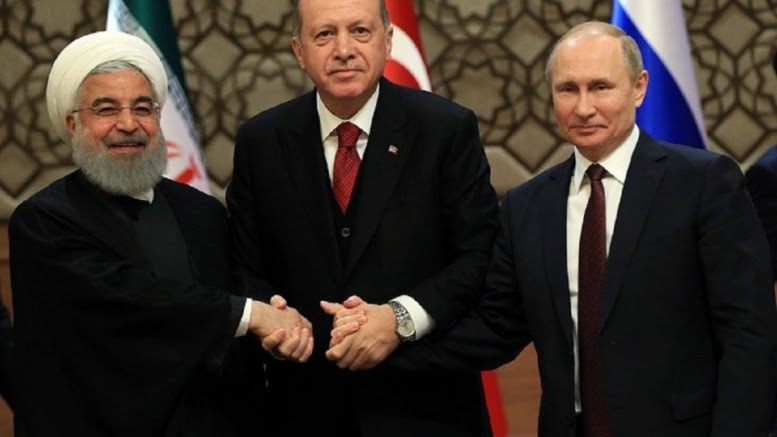Turkish President Recep Tayyip Erdogan,  Russian President Vladimir Putin and Iranian President Hassan Rouhani . Photo via turkish presidency