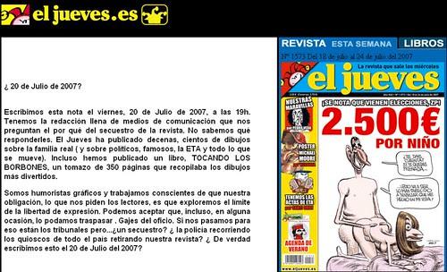 Comunicado de la Revista El Jueves