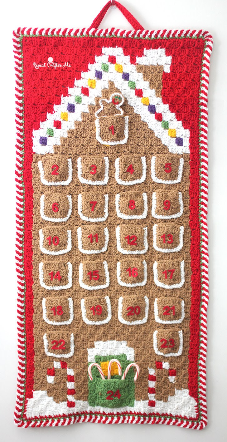 Gingerbread House Advent Calendar Free Crochet Pattern