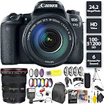 Canon EOS 77D DSLR Camera + 18-135mm USM Lens + Canon 17-40mm Lens Wide Angle Combo