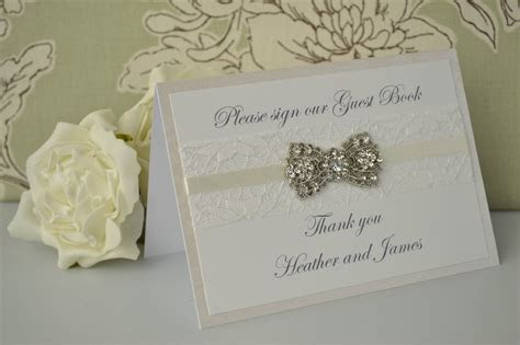 Personalised Wedding Guest Book Sign ? Vintage Diamante