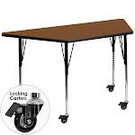 Flash Furniture XU-A3060-TRAP-OAK-H-A-CAS-GG Mobile 30 x 60 in. Trapezoid Oak High Pressure Laminate Activity Table - Standard Height Adjustable Legs