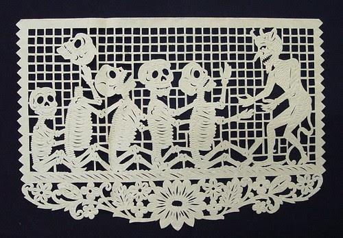 Day of the Dead papercut  made in San Salvador Huixcolotla, Mexico (1980s)