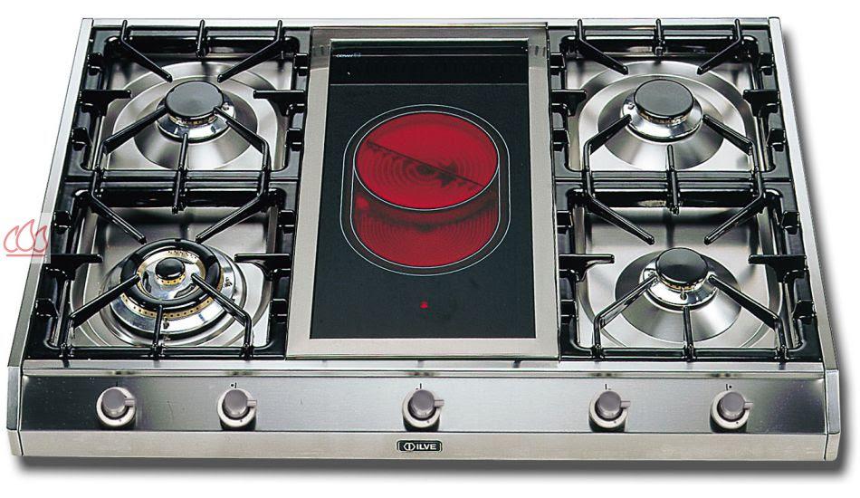 Plaque De Cuisson Gaz 90 Cm Inox à Poser 5 Foyers Dont 1 Wok Dual 45 Kw Et 1 Zone Vitrocéramique