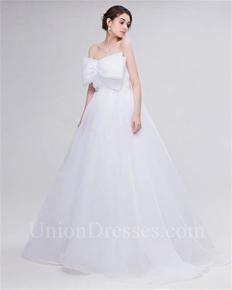 Simple A Line Strapless Corset Back Organza Bow Wedding