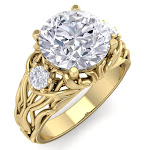 3 1/4 Carat Round Shape Diamond Intricate Vine Engagement Ring in 14K Yellow Gold (7 g) (, SI2-I1), Size 5.5 by SuperJeweler