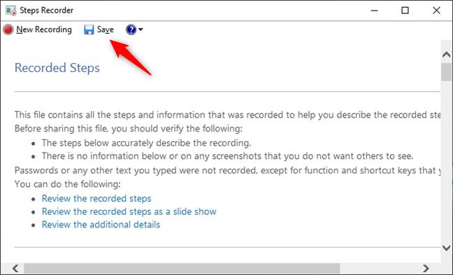 Guardar una grabación con Steps Recorder
