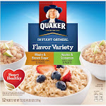 Quaker Oats Instant Oatmeal, Variety Pack, 52-Count