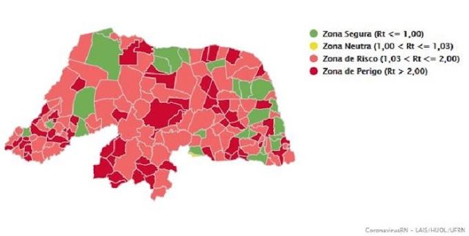 Covid-19: João Câmara entre os 78 municípios do RN na zona de risco com taxa de transmissibilidade de 1,25