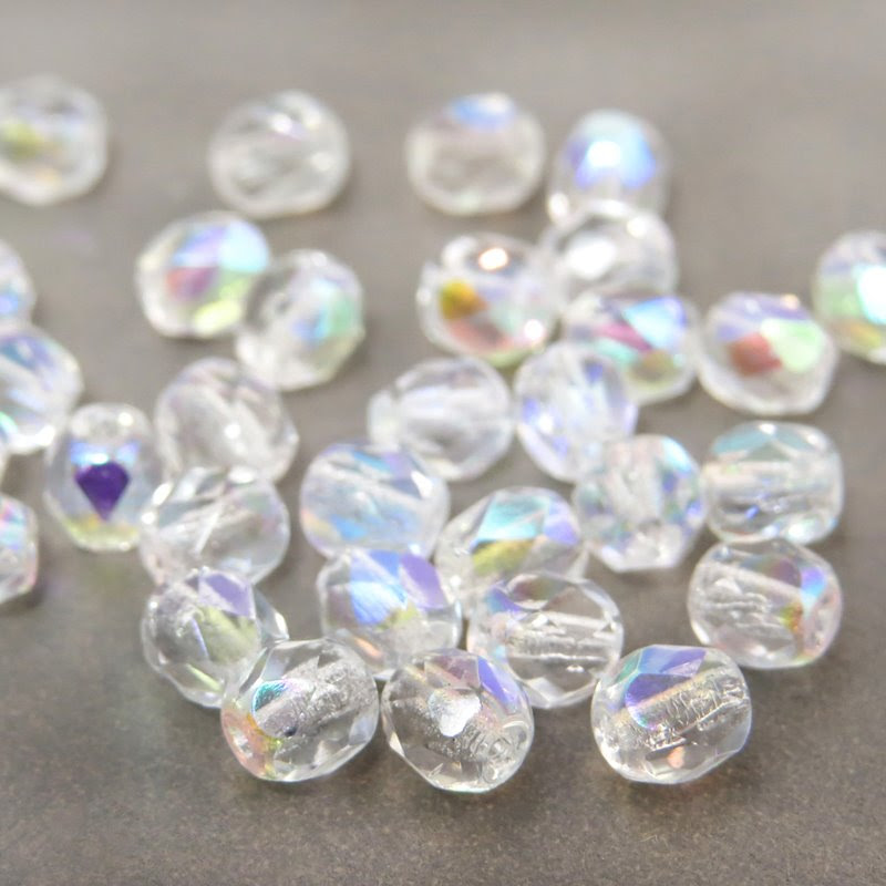 27015886 Firepolish - 4 mm Faceted Round - Crystal AB (50)