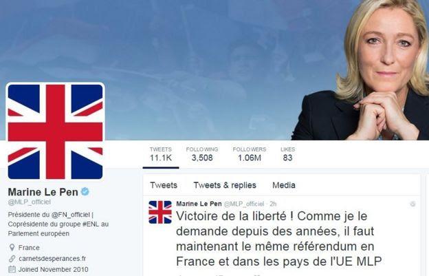 Marine Le Pen Twitter page