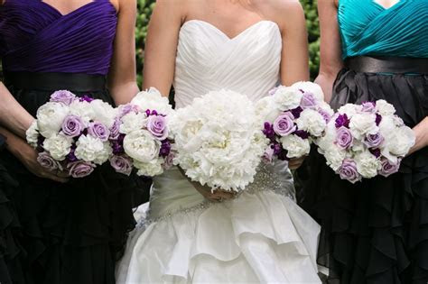 All white peony bouquets with lavender roses and purple