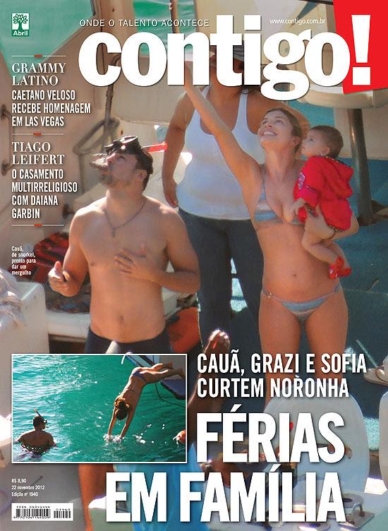 Cauã, Grazi e Sofia curtem férias na ilha Fernando de Noronha, paraíso de mergulhadores e de celebridades