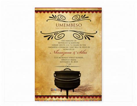 South African Traditional Wedding Invitation Cards