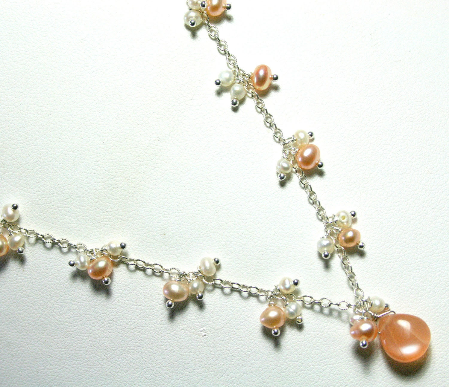 Pearl Cluster Necklace - Peach White Moonstone Teardrop - Sterling Silver Chain