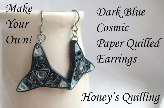 Dark Blue Cosmic Paper Quilled Earrings - Make Your Own - Honey's Quilling